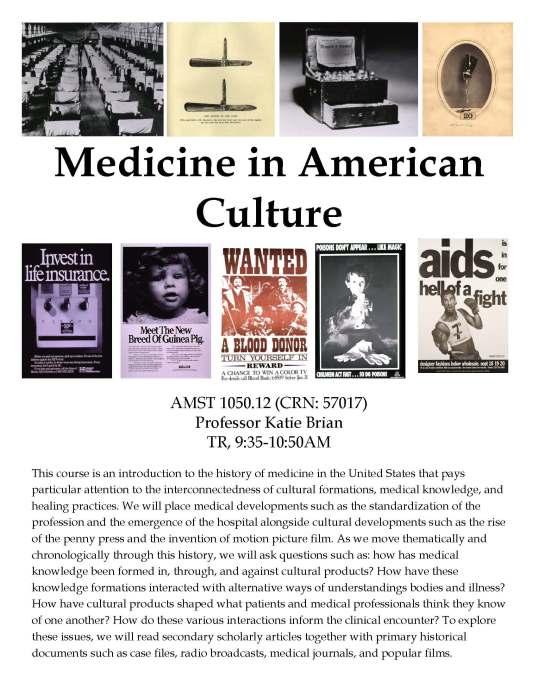AMST 1050.12 Medicine in American Culture
