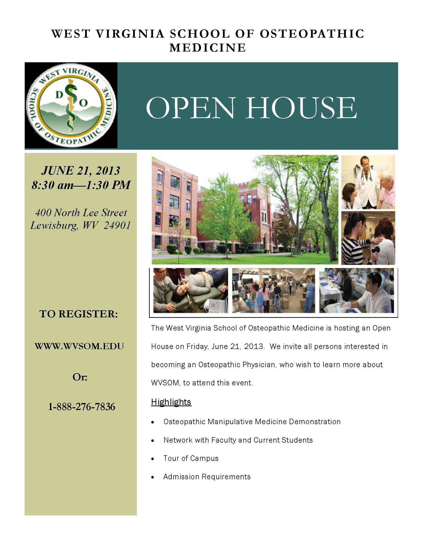 Open House Flyer for June 21, 2013 - PDF